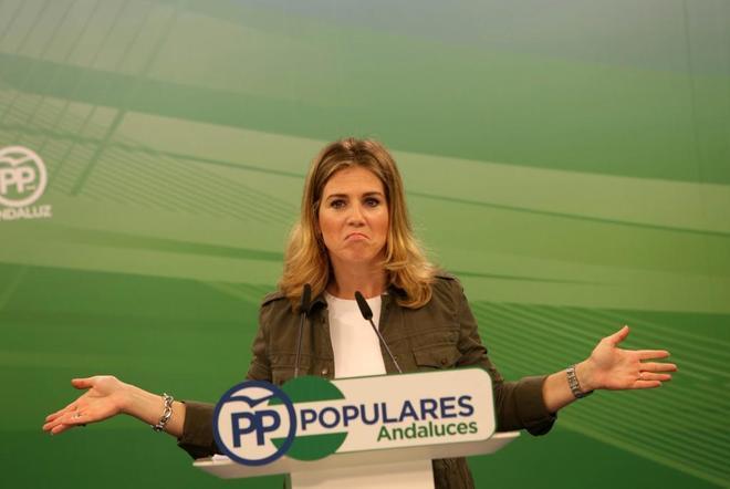 La vicesecretaria del PP andaluz, Ana Mestre, en una imagen de archivo en la sede del partido.