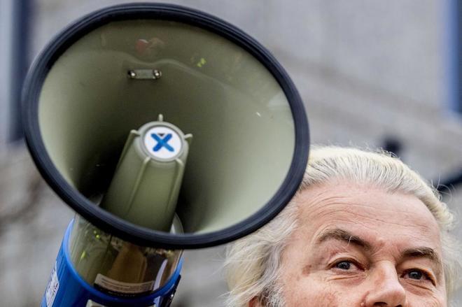 Geert Wilders, líder del Partido de la Libertad, participa en una protesta en Rotterdam.