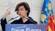 Soraya Sáenz de Santamaría, durante su intervención en el Fórum...