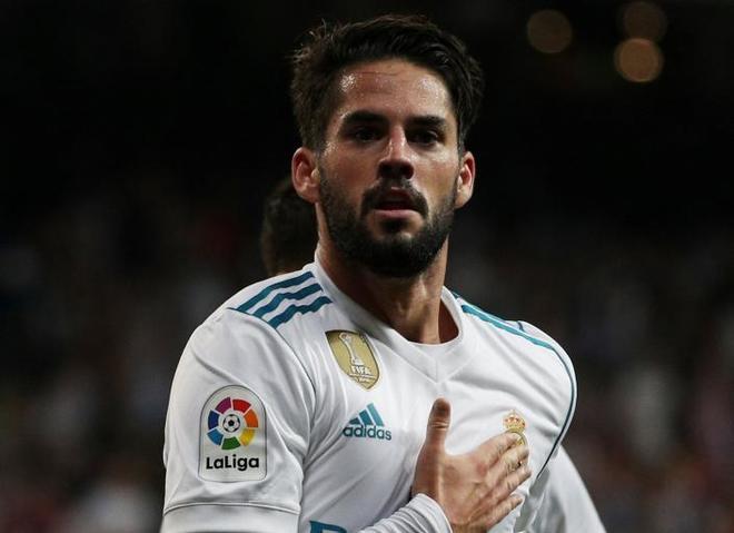 Isco, celebrando un gol en el Bernabéu.