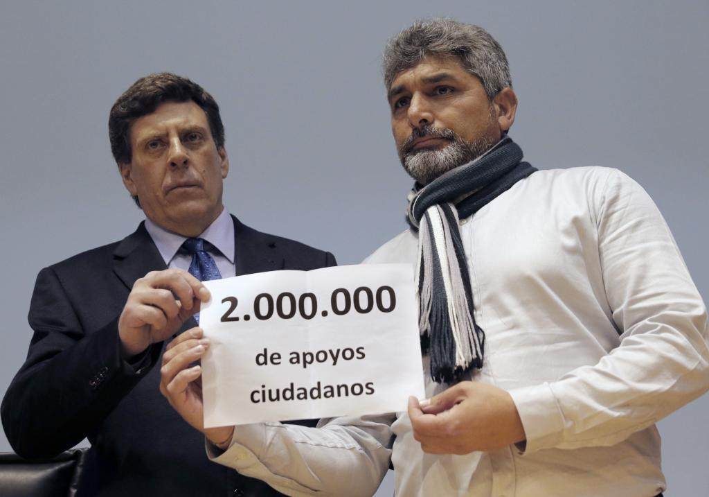 Juan Carlos Quer y Juan José Cortés, esta mañana en Santiago de...