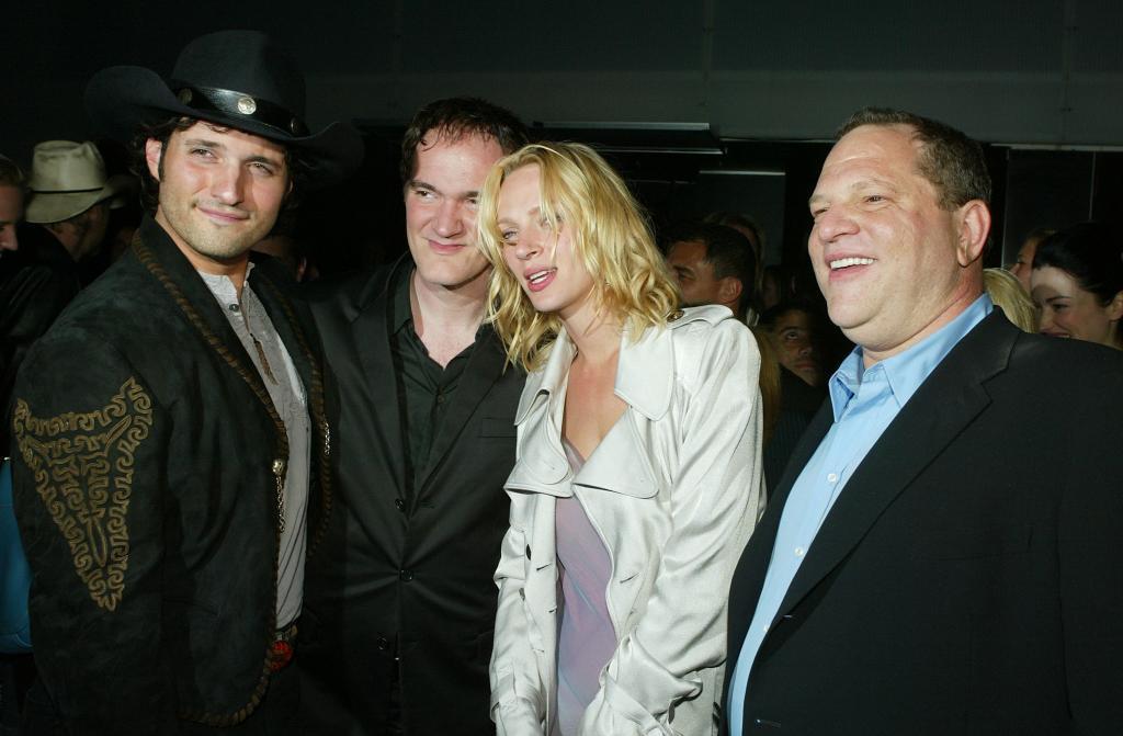 Uma Thurman y Harvey Weinstein (dcha.), en una imagen tomada en abril...