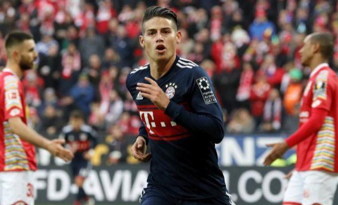 James Rodríguez festeja su gol del sábado al Mainz 05.