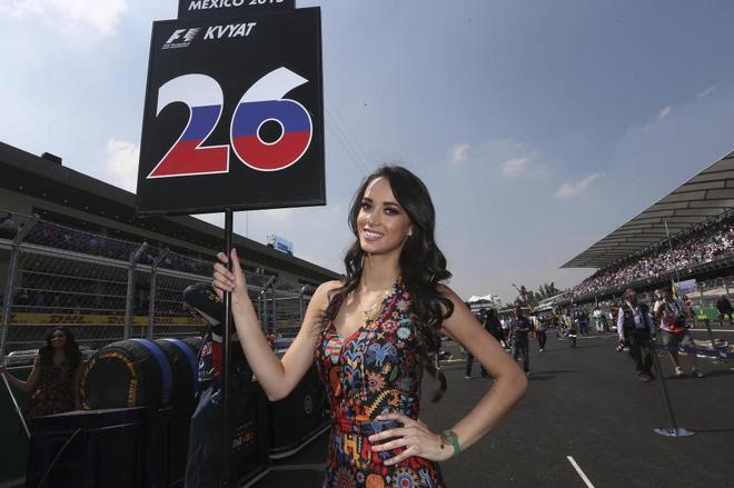 Una de las azafatas de la pasada temporada, en el GP de Mexico.