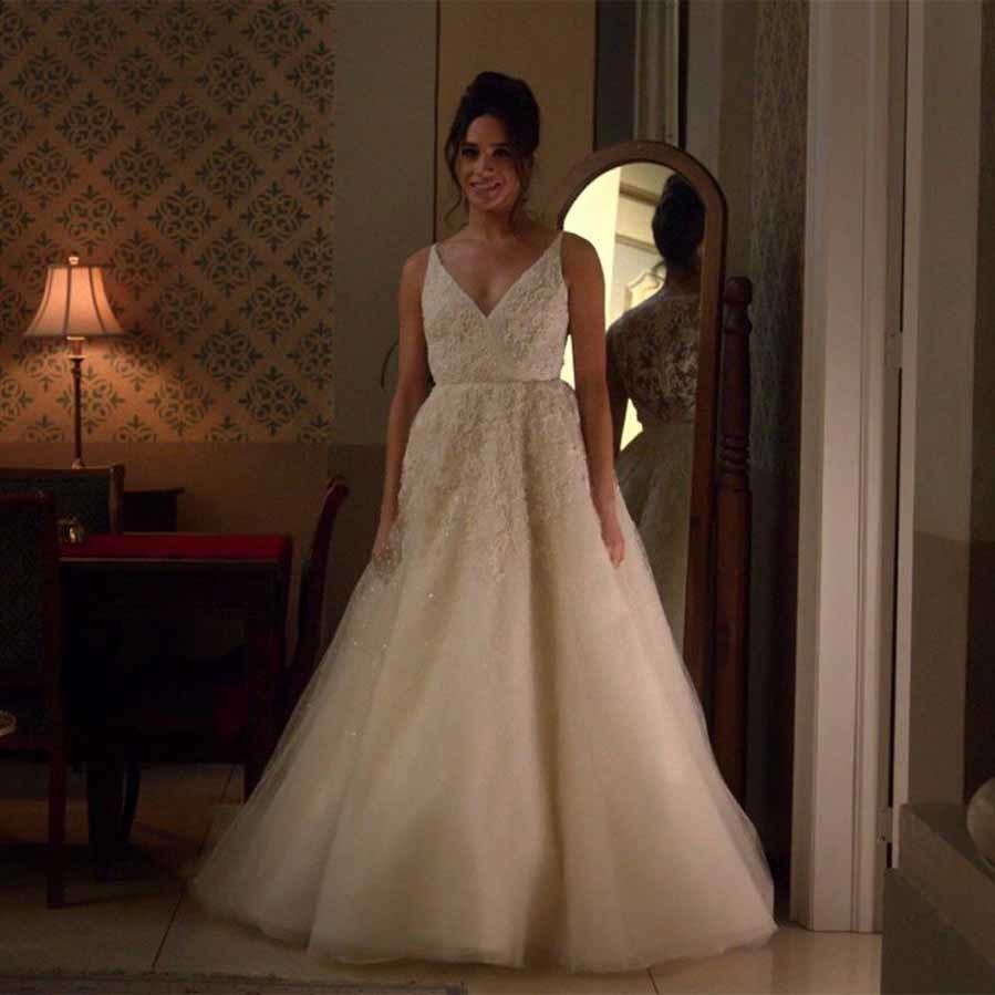 La novia del príncipe Harry llevó un vestido de novia de Kleinfeld Canada en la serie 'Suits'. ¿Será parecido al que elija para su boda?