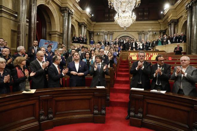 Pleno del Parlament en el que se anunció la Declaración Unilateral...