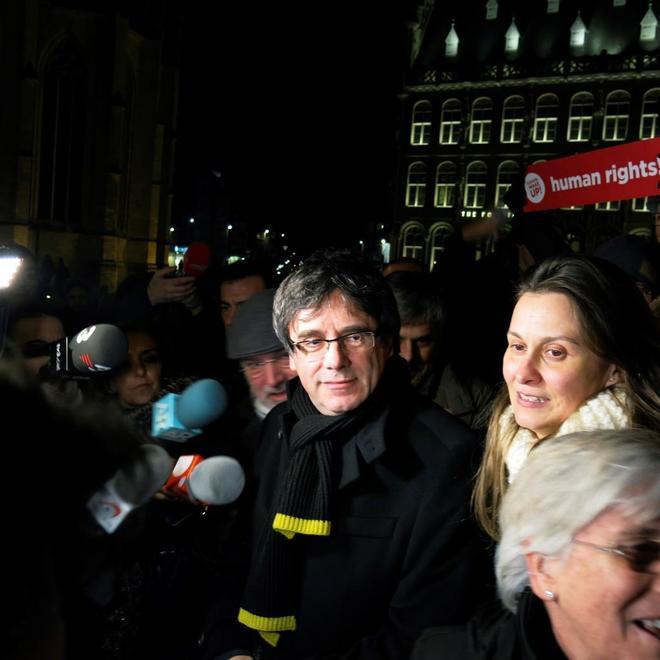 El ex president, Carles Puigdemont, en el acto por los 100 días en el...