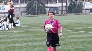 Damiano Bellini, arbitrando un partido en Italia.