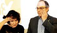 El ex 'conseller' Jordi Turull y la periodista Empar Moliner en un...