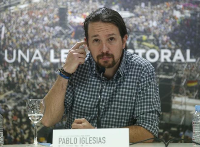 Pablo Iglesias, el miércoles, en un acto de Podemos en favor de la...