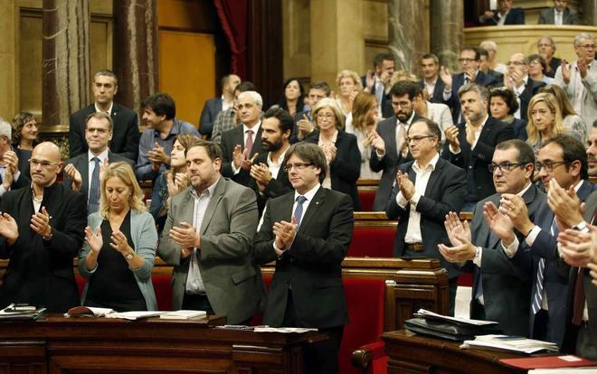 El Parlamento catalán tras aprobar el 6 de septiembre la celebración de un referéndum independentista para Cataluña.