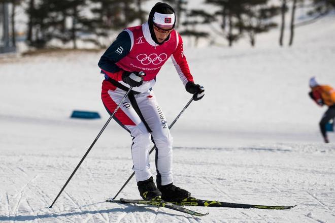 Marit Bjorgen, durante un entrenamiento, antes de competir en Pyeongchang.