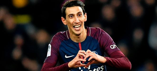 Di María celebra un gol al Montpellier, el pasado 27 de enero.