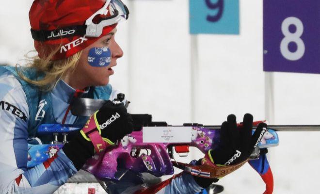 Davidova, durante la final de biatlón, en la modalidad de sprint.