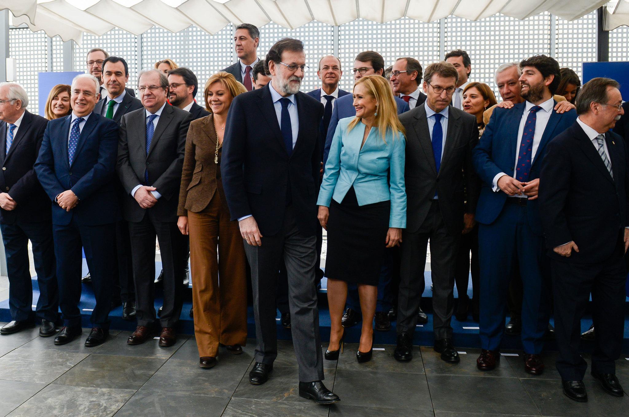Mariano Rajoy, en la cumbre del PP celebrada este lunes en Madrid.