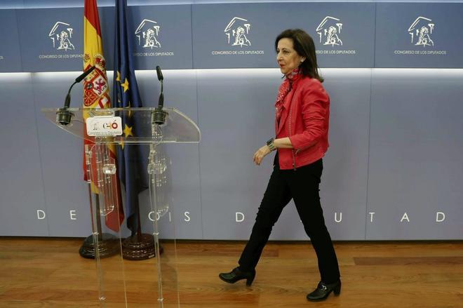 Margarita Robles, portavoz del PSOE en el Congreso, en rueda de...