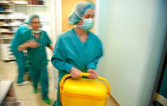 Enfermeras españolas con una nevera portátil transportando un...
