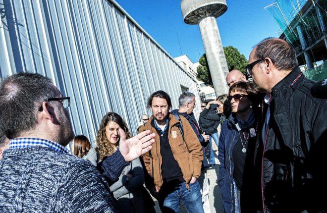 Pablo Iglesias, durante su visita en enero a las instalaciones de...