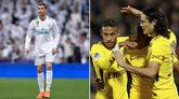 A la izda: Cristiano Ronaldo; a la dcha: Neymar, Mbappé y Cavani.