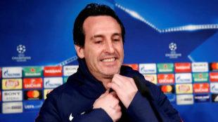 Unai Emery, durante la rueda de prensa en el Bernabéu previa al duelo...