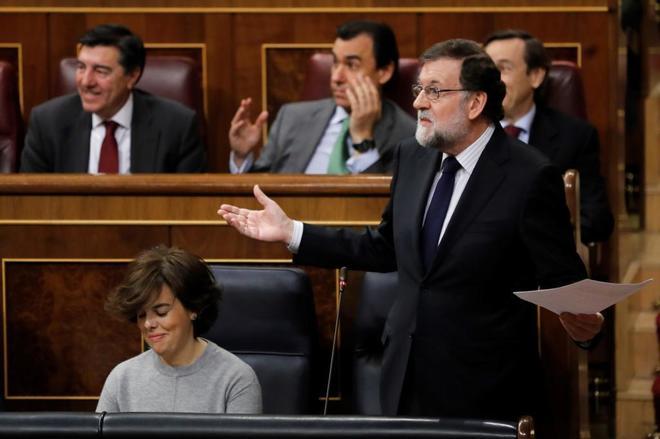 Mariano Rajoy, durante la sesión de control al Gobierno en el Congreso de los Diputados.