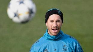 Sergio Ramos, durante el entrenamiento de este martes en Valdebebas.