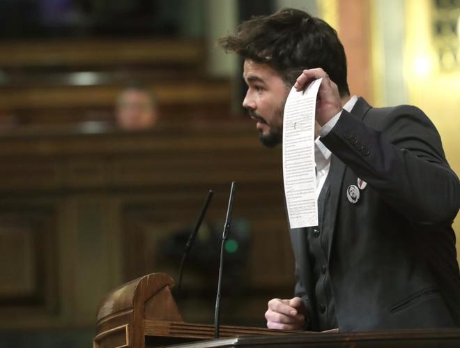El diputado de ERC Gabriel Rufián, durante su intervención en el Congreso de los Diputados.