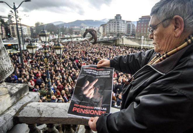 Manifestación celebrada esta semana en Bilbao en contra del factor de sostanibilidad.