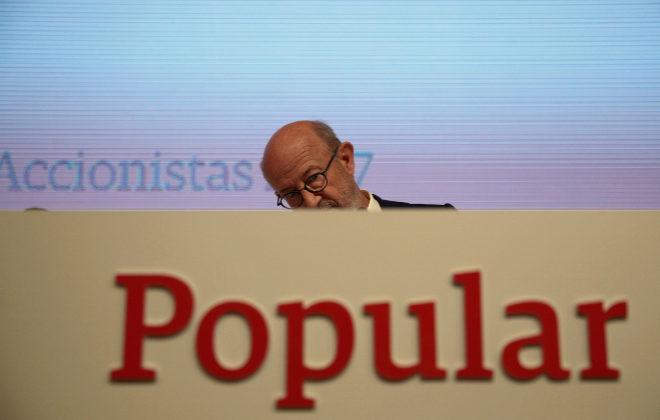 El ex presidente de Banco Popular, Emilio Saracho, en una junta general de accionistas del banco en Madrid