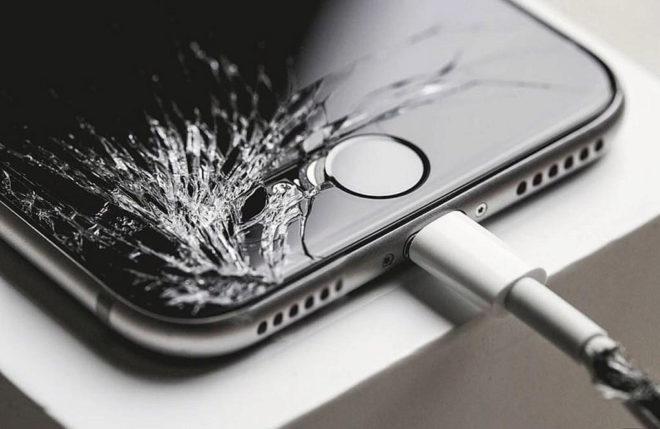 Un Iphone dañado