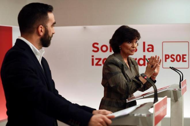 La secretaria de Igualdad del PSOE, Carmen Calvo, en la rueda de prensa celebrada este viernes en Madrid.