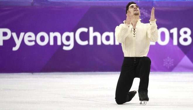 Javier Fernández, durante su ejercicio, este sábado.