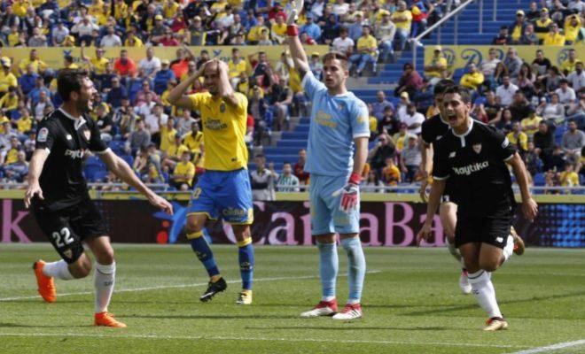 Ben Yedder festeja el 0-1 en el estadio de Gran Canaria.
