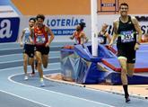 Adel Mechaal, en el tramo final de la prueba de 3.000 metros, donde...