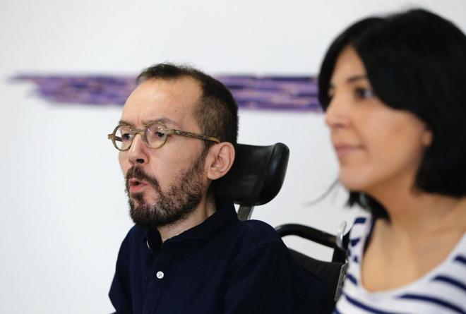 Pablo Echenique e Idoia Villanueva,al término del Consejo de Coordinación del Partido