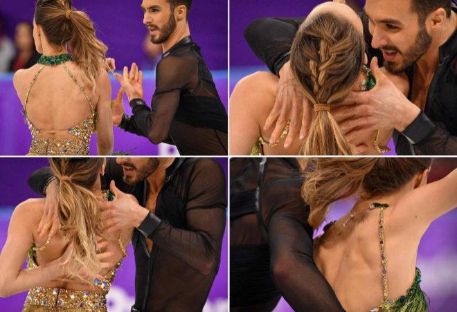 Secuencia de la actuación de Gabriella Papadakis y con Guillaume Cizeron en la que se rompió el vestido.