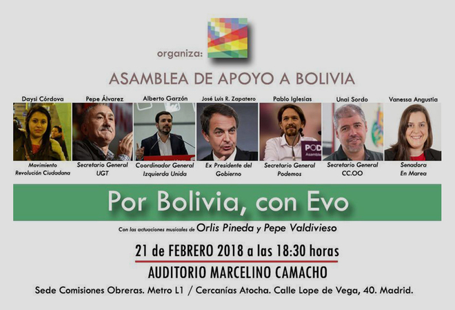 Cartel con la convocatoria del acto de apoyo a Evo Morales, con Zapatero en el lugar central.