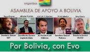 Cartel con la convocatoria del acto de apoyo a Evo Morales, con...