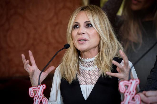 Marta Sánchez, durante la presentación del concierto donde presentó...