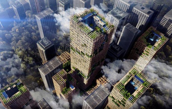 Simulación del rascacielos de madera de 350 metros de altura en Tokio para el año 2041, en lo que sería la edificación de este tipo de material más alta del mundo