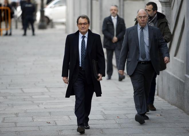 Artur Mas, a su llegada hoy al Tribunal Supremo.