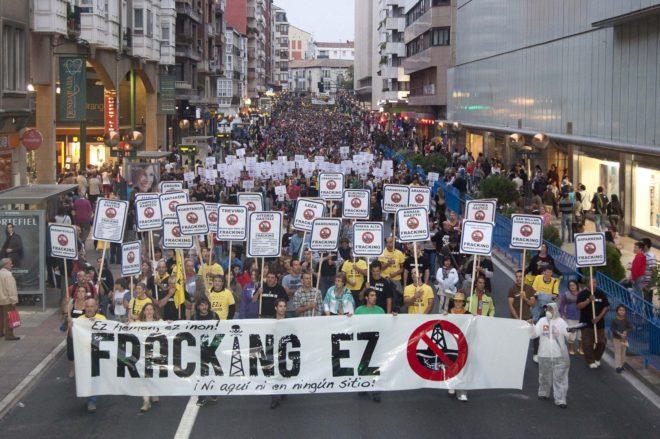 Una manifestación en contra del fracking.