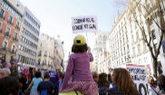 Un momento de la manifestación del Día de la Mujer en Madrid.