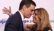 Pedro Sánchez y Susana Díaz se saludan en un acto celebrado en 2016...