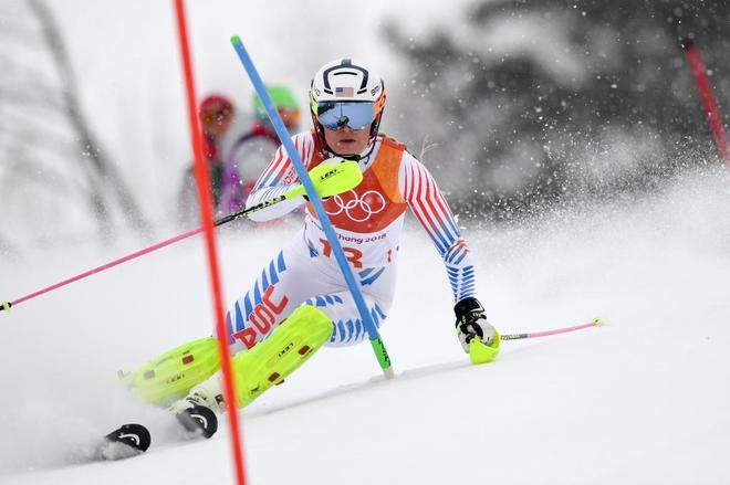 Lindsey Vonn, durante el slalom de la prueba combinada de los Juegos de Pyeongchang.