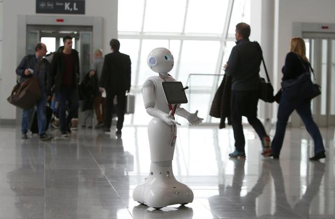 Un robot informativo, en el aeropuerto de Munich.