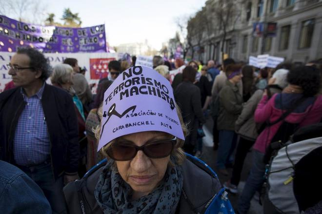 Manifestación en el Día Internacional de la Mujer, en Madrid, en 2015