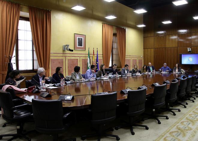 El grupo de trabajo sobre financiación autonómica reunido este viernes en la Cámara andaluza.
