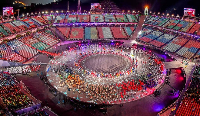Panorámica de la ceremonia de clausura de los Juegos de Pyeongchang.