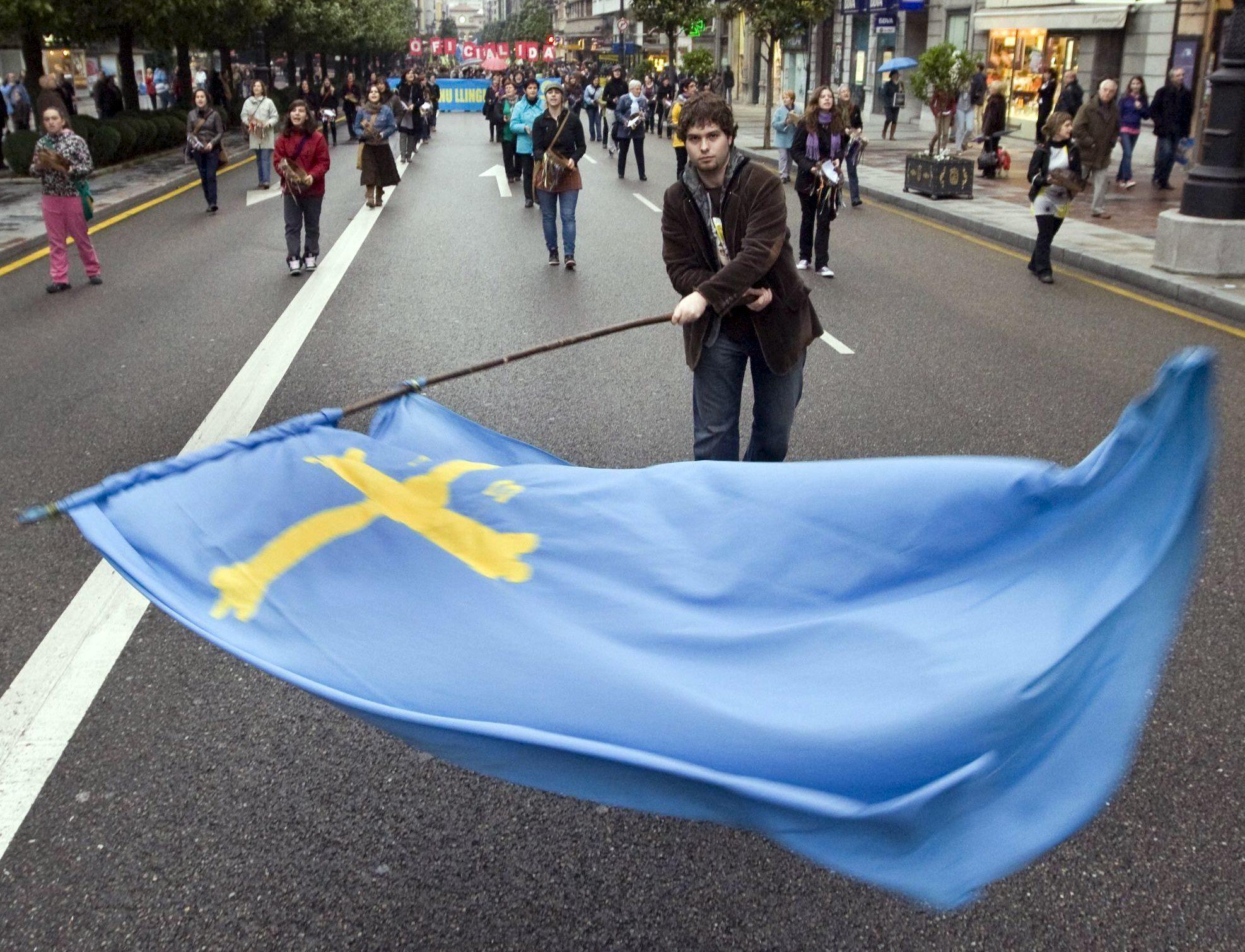 Manifestantes a favor de la oficialidad del asturiano en una marcha...